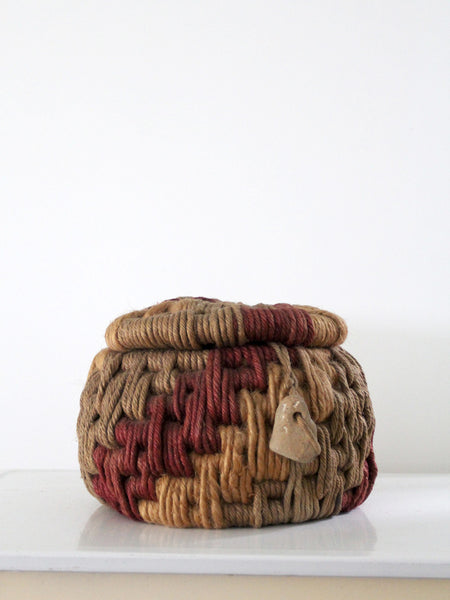 vintage coiled rope basket