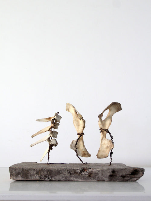 primitive folk art bone sculpture