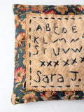 vintage embroidery work sampler pillow