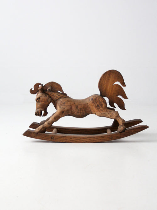 vintage hand-carved wood rocking horse