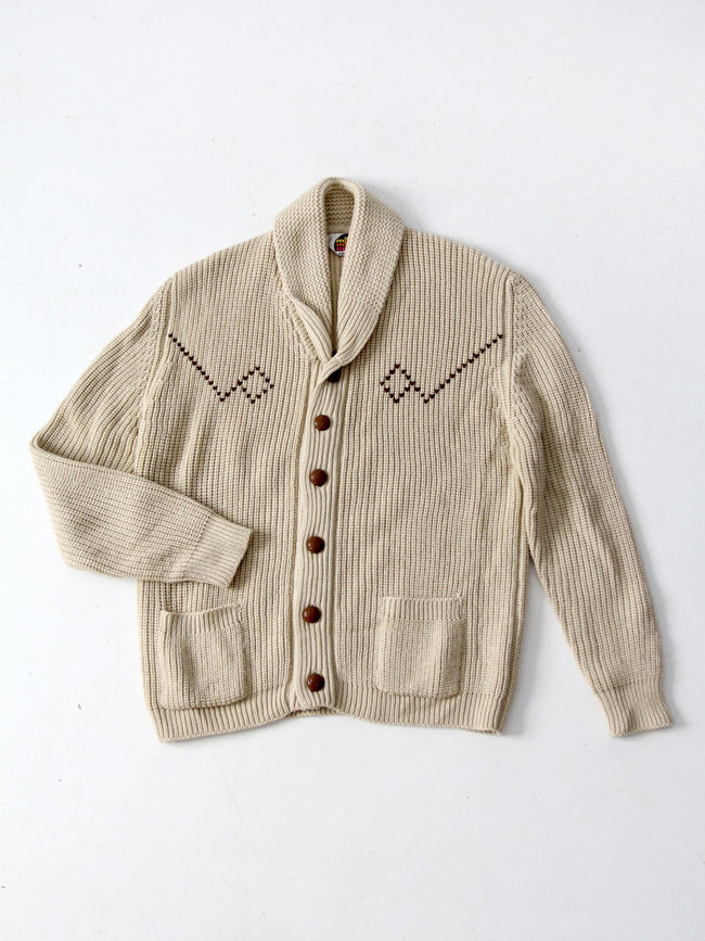 vintage 70s men's cardigan sweater