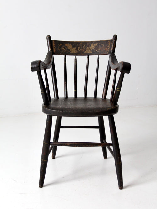 antique stencil back arm chair