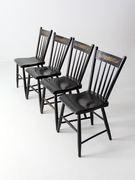 antique stenciled spindle back chair set of 4