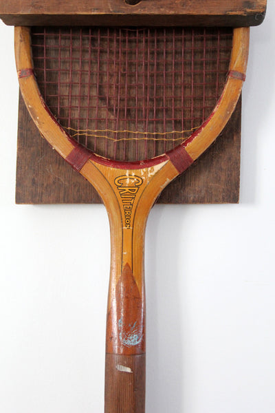 vintage Wright & Ditson Criterion wood tennis racquet with wall mount