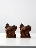 vintage pressed wood bookends
