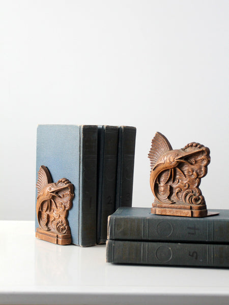 vintage horn bookends