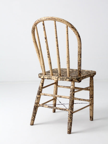 primitive farmhouse spindle back chair circa 1800s