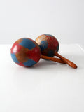 vintage painted maracas pair