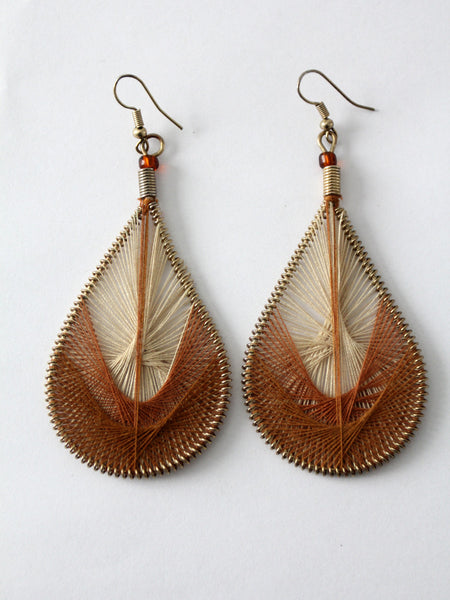 vintage string art Peruvian thread earrings
