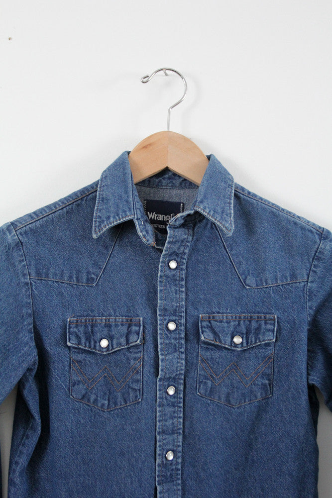 denim snap up shirt