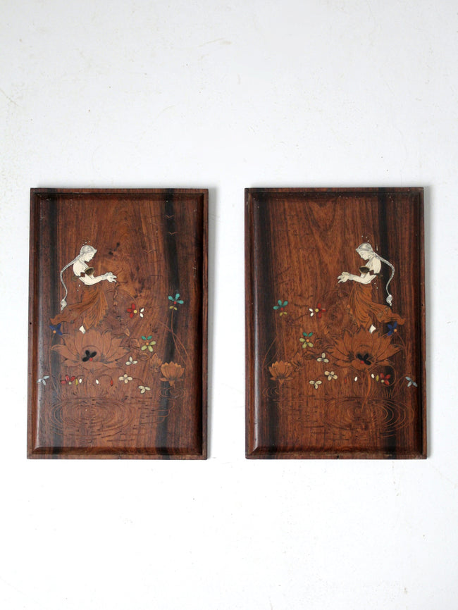 vintage etched wooden plaque wall hangings pair