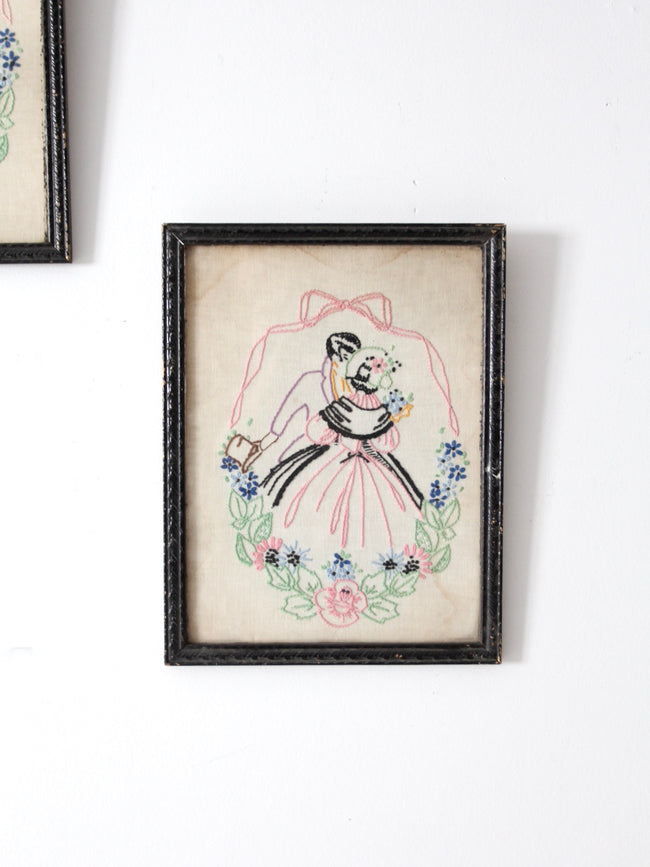 antique framed embroidery wall art