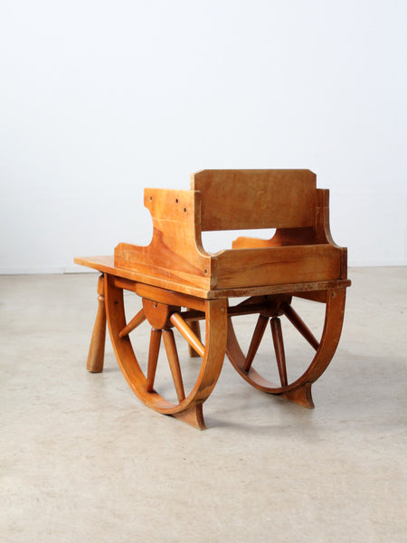vintage Monterey wagon wheel tiered end table