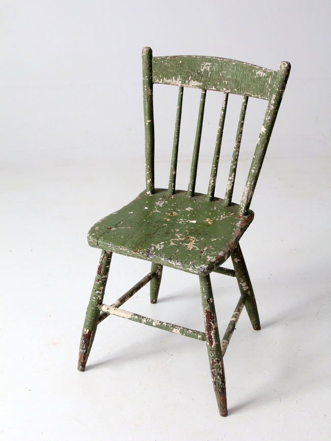 antique primitive plank seat chair