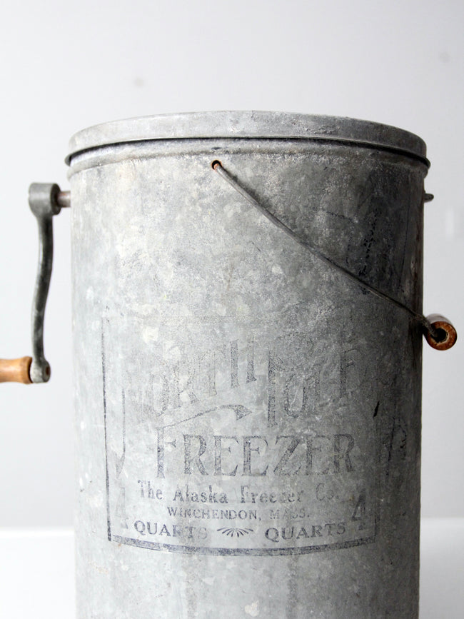 antique North Pole Freezer 4 qt ice cream maker