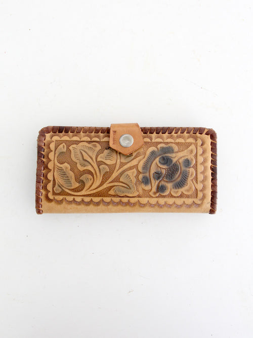 vintage 70s tooled leather wallet