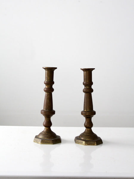 vintage tall wooden candlestick holders pair