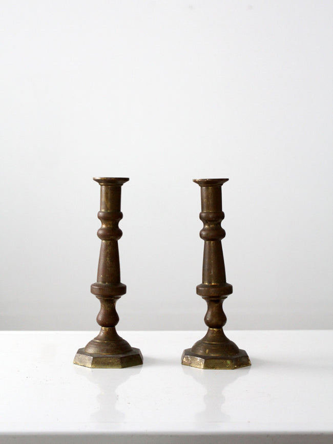 antique baroque style brass candlestick holders