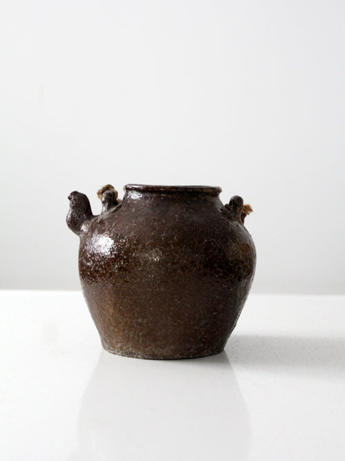 antique American stoneware bean pot