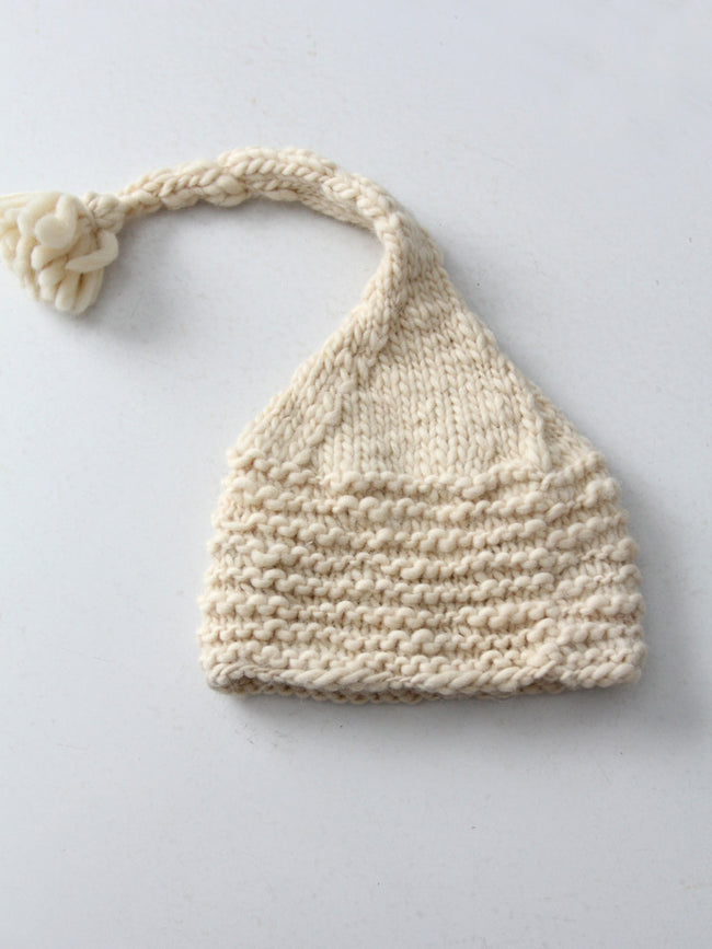 vintage cream knit hat