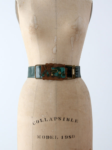 vintage 80s green leather belt with brass art buckle