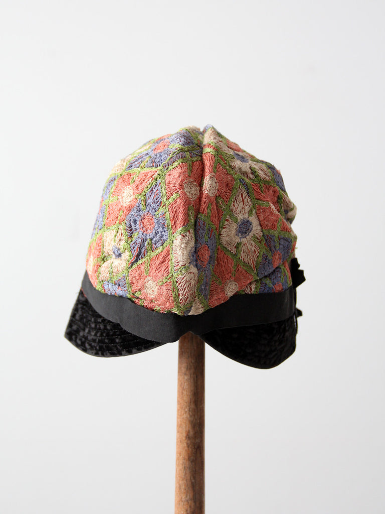 1920s embroidered cloche hat
