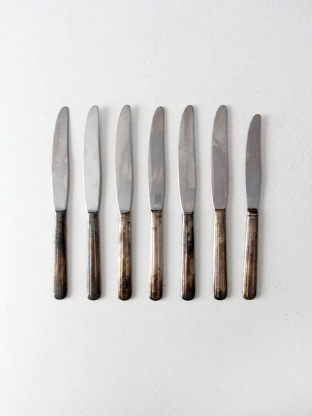 vintage silver plate dinner knife set