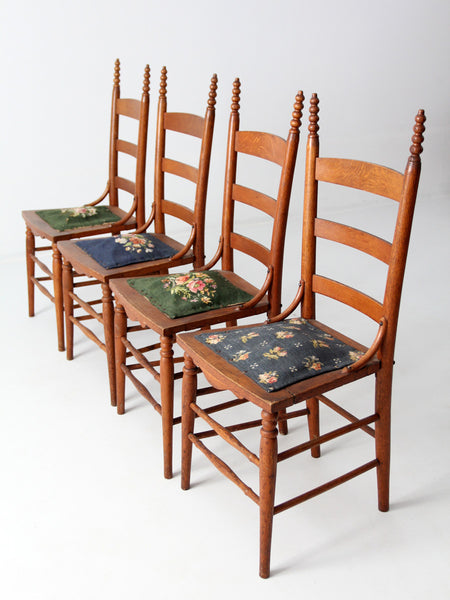 antique plank seat dining chairs, set of 6