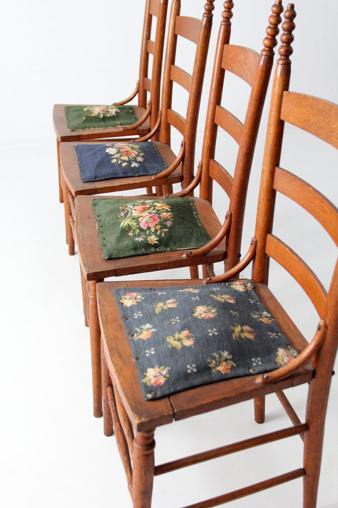 antique ladder back chairs with needlepoint upholstery