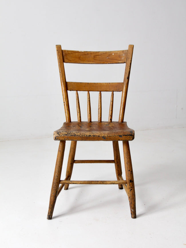 antique plank seat farmhouse chair