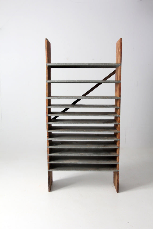 vintage wood & galvanized metal shelf