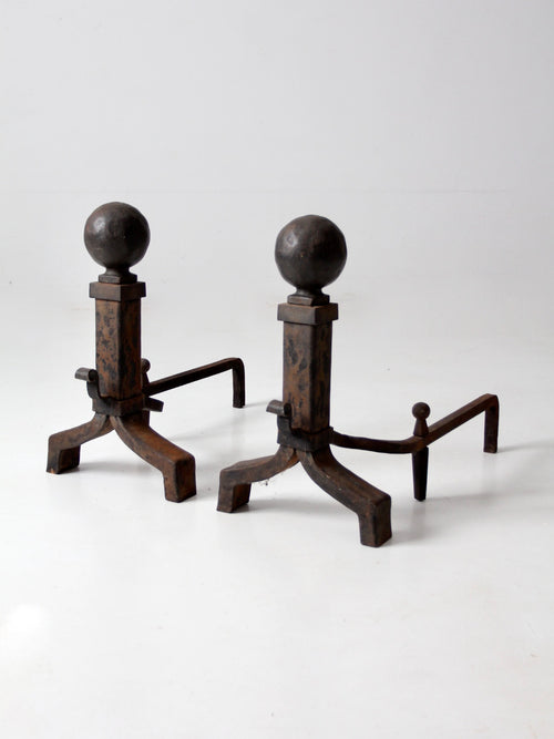 antique wrought iron andirons