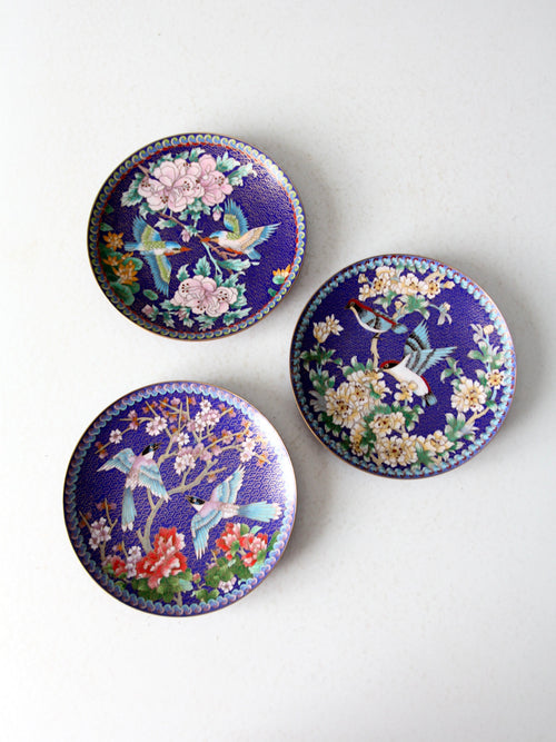 vintage Ching-t'ai Ian Artist Workshop cloissone plates set/3