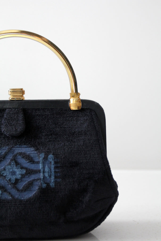 vintage 60s Greta velvet evening bag