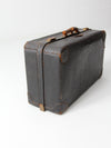vintage black leather suitcase circa 1930s