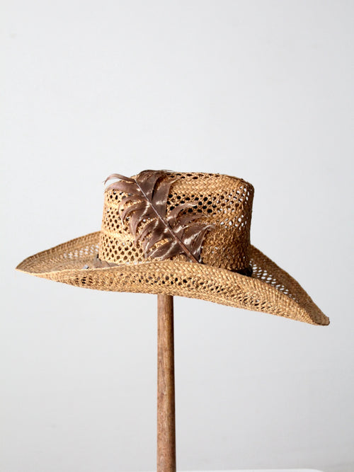 vintage woven straw cowboy hat
