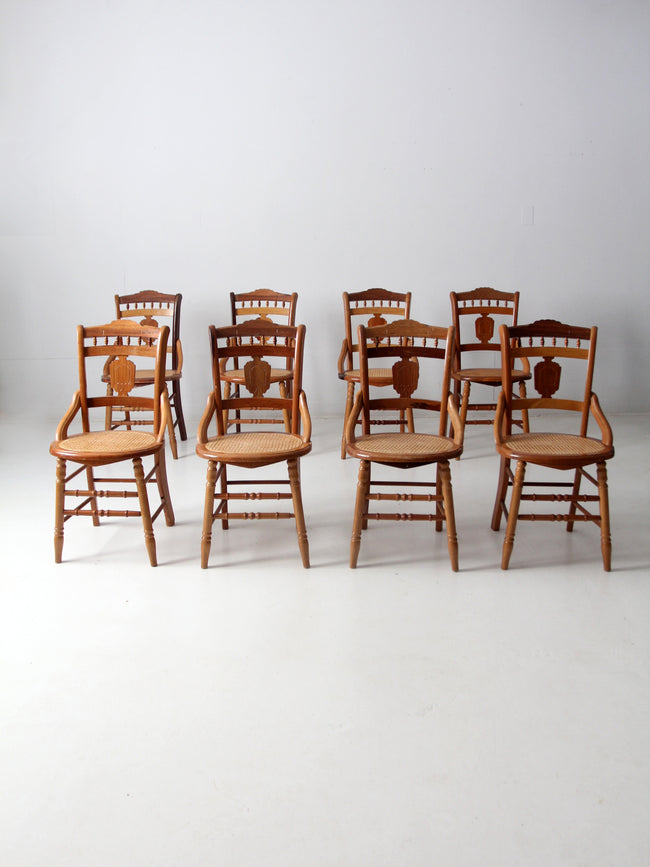 vintage cane seat dining chairs 8 pc