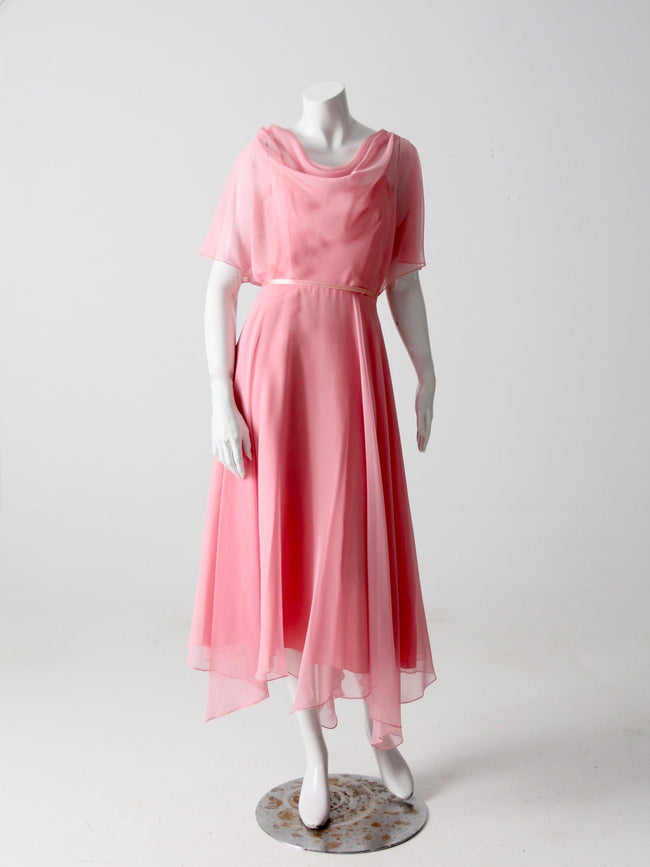 vintage 70s chiffon handkerchief dress