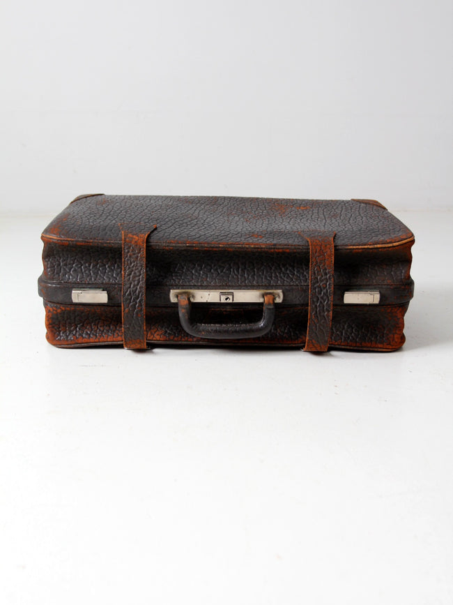 vintage 30s black leather suitcase