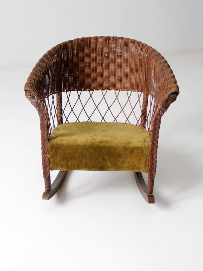antique children's wicker rocking chair