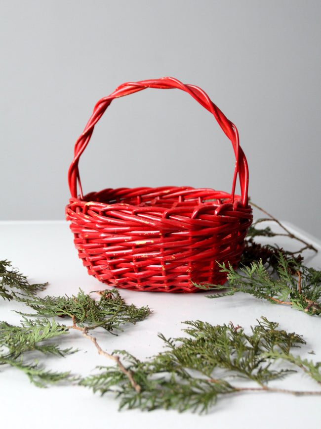 vintage red handle basket