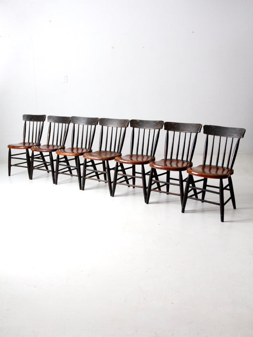 antique plank seat chairs,  set of 7
