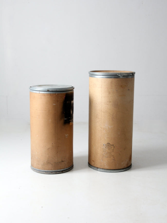 vintage industrial farm bins pair