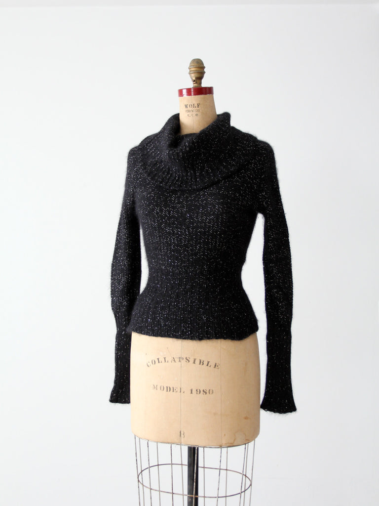 vintage angora sweater with cowl neck