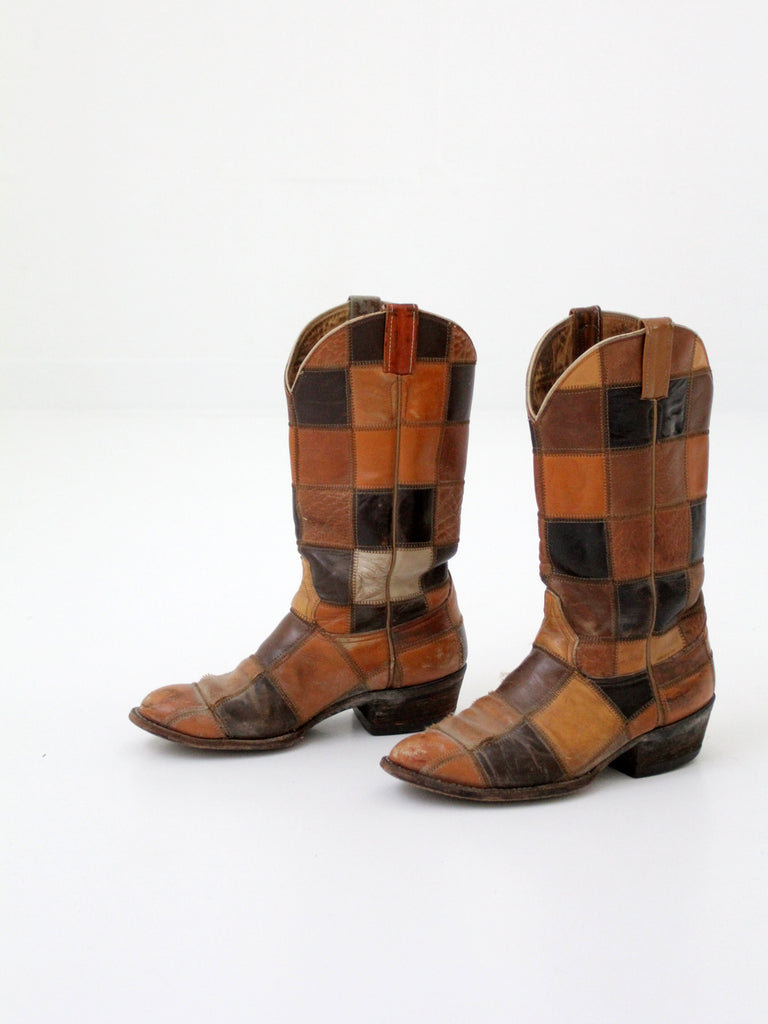 vintage Laramie patchwork leather boots woodstock
