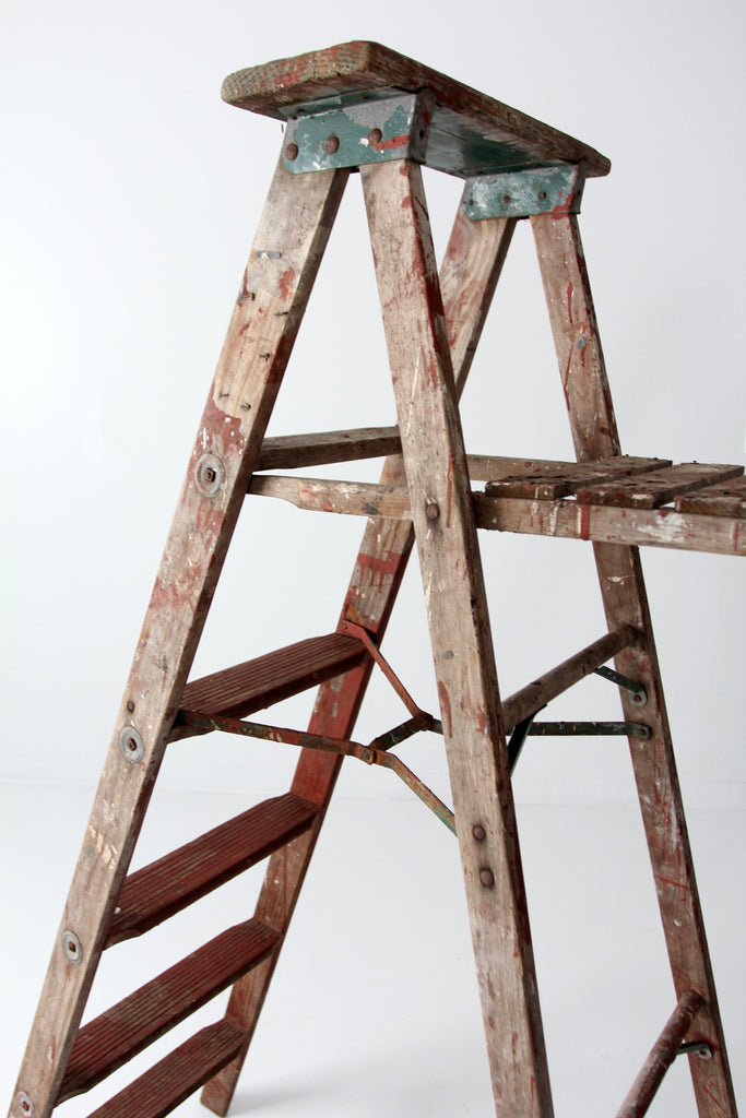 Vintage Red Wooden Painter S Ladder 5 5 Feet 86 Vintage