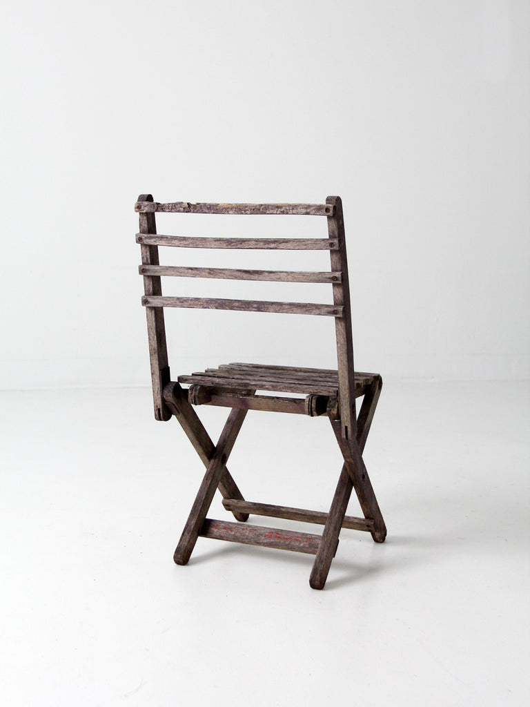 vintage rustic wood folding chair