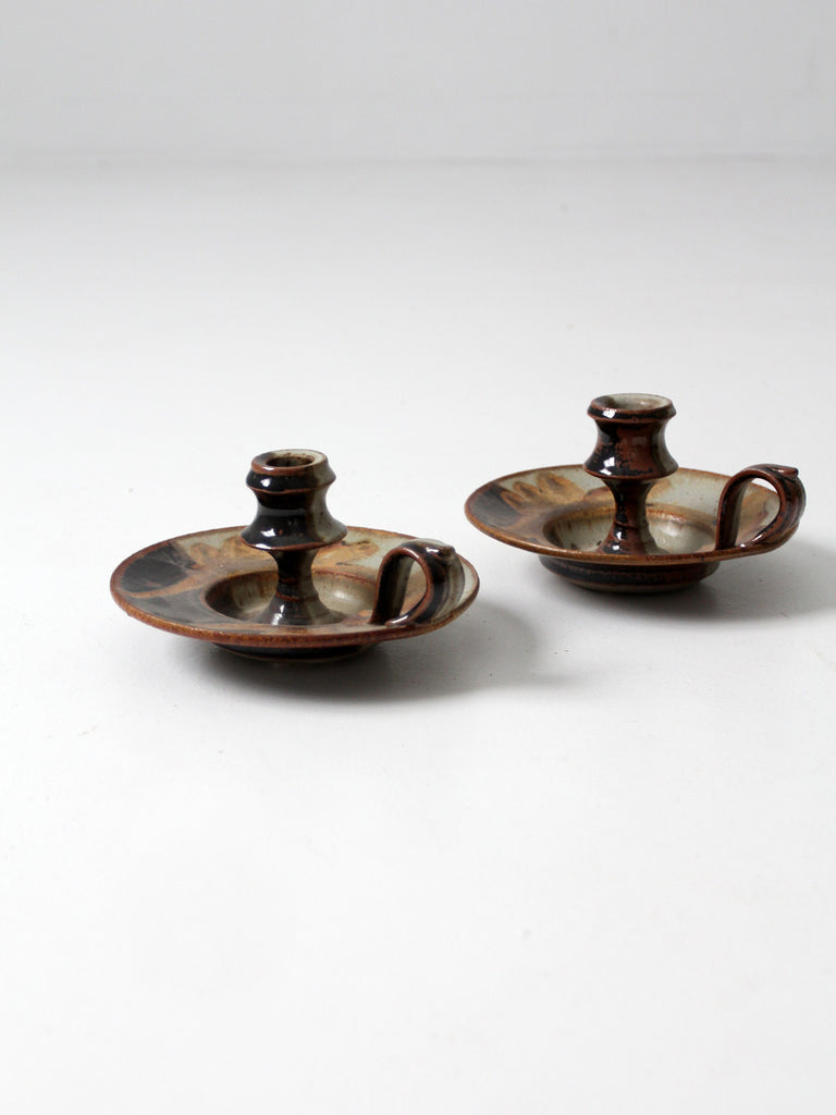vintage signed studio pottery candle holder pair
