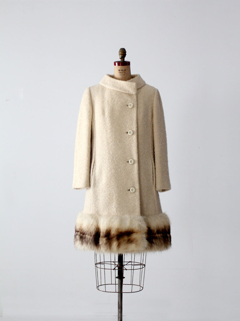 1960s boucle wool coat with fur trim