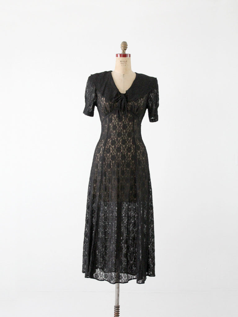 vintage 70s black lace dress
